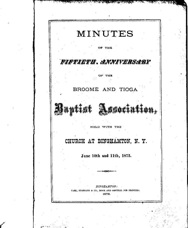 Broome Tioga Baptist Association 50th Anniversary Booklet - Inside Front Page